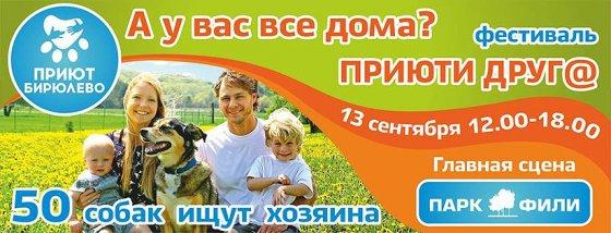 13 сентября 2014 года в парке Фили состоится закрытие фестиваля «Приюти друг@»