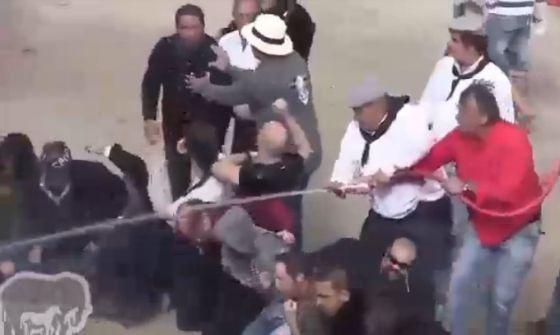 Испанские активисты  подверглись нападению сторонников корриды во время акции протеста