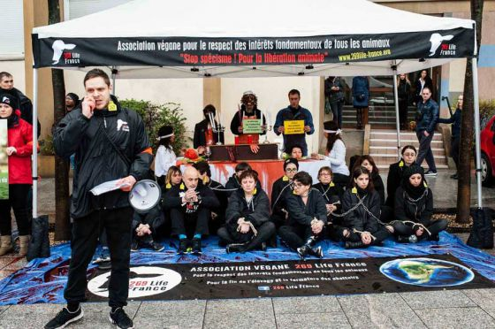 Активисты  269 Life France в Париже выступили против животноводства